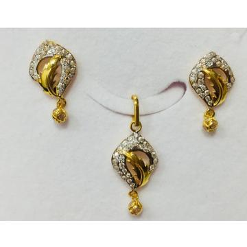 916 gold fancy cz pendant set nj-p016
