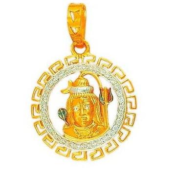 916 Gold Hallmarked CZ Shivji Pendant
