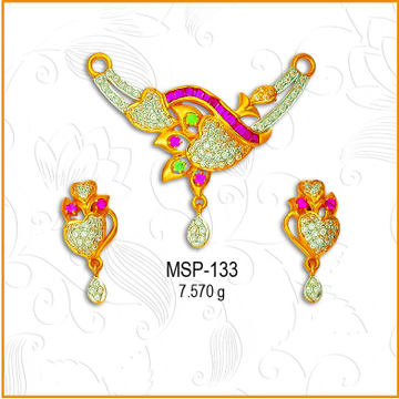 22KT Gold Heart Shape CZ Mangalsutra Pendant Set MSP-133