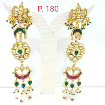 Pink & green stone kundan with hanging pearl long earring 1528