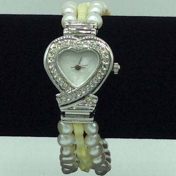 Freshwater Button Pearls And Yellow Semi Beeds Watch JBG0215