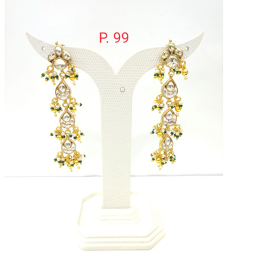Traditional gold plated kundan long earring with hanging pearls 1512