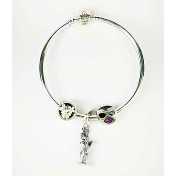 Fancy 925 silver ladies kada bracelet with Statue Of Liberty