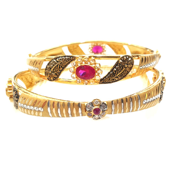 22k Gold Oval Shape Checkers Diamond With Oxidised copper Kadli Bangles MGA - GK030