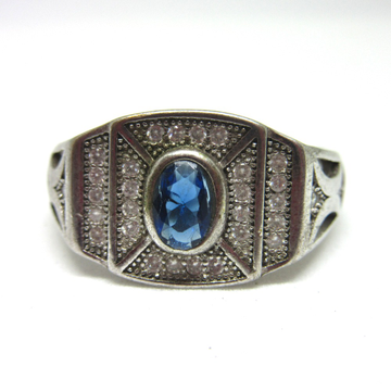 Silver 925 blue stone ring for gents sr925-99