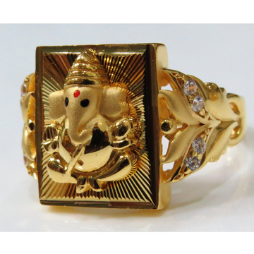 22kt gold casting lord ganesh design fitting ring for men gr-12