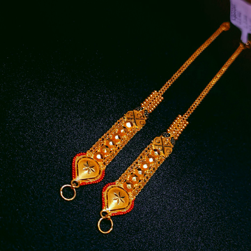916 Gold Kalkatti Design Kanser by Ghunghru Jewellers