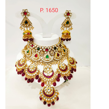 Best marriage dulhan set with red and green stone choker set 1238