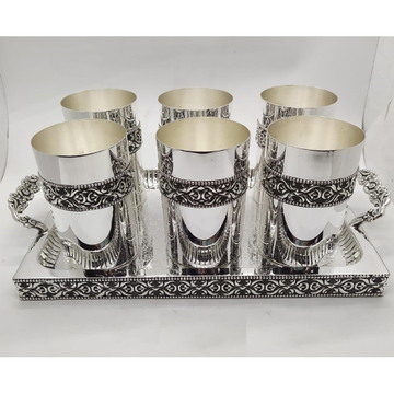 92.5% Pure Silver Stylish Glasses And Tray Set PO-...