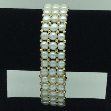 White Button Pearls With Golden Jaco Balls 3 Layers Bracelet JBG0142