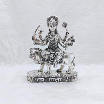 Hallmarked silver idol of shera wali mata in antiq...