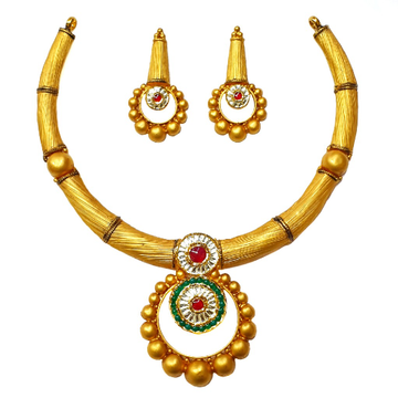 22K Gold Antique Necklace Set MGA - GN0089