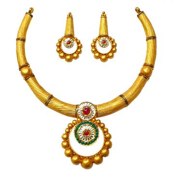 22K Gold Antique Necklace Set MGA - GN0089