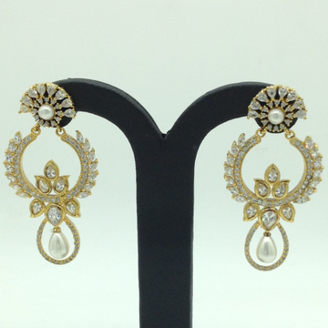White CZ Stones Ear Hangings JER0059