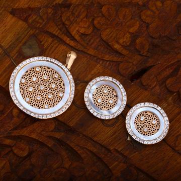 916 Gold CZ Everstylish Round Shape Design Pendant Set