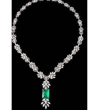 Diamonds and Emeralds Necklace JSJ0027