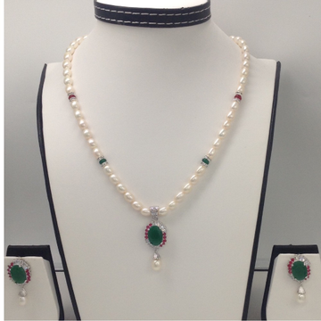 Tri Colour CZ And Pearls Pendent Set With Oval Pearls Mala JPS0095
