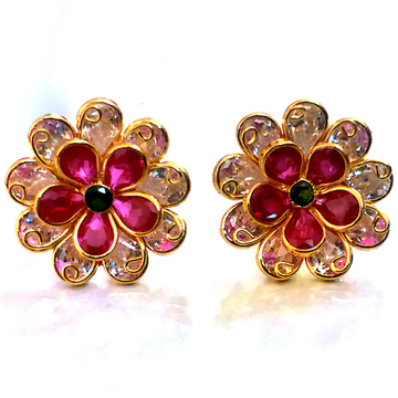 Fancy Color Stone Gold Earrings NJA-E003