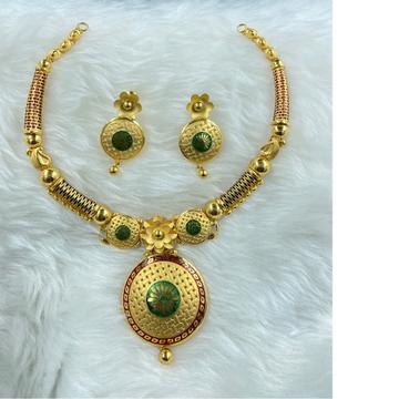 916 gold hallmark green kundan design necklace set by Ranka Jewellers
