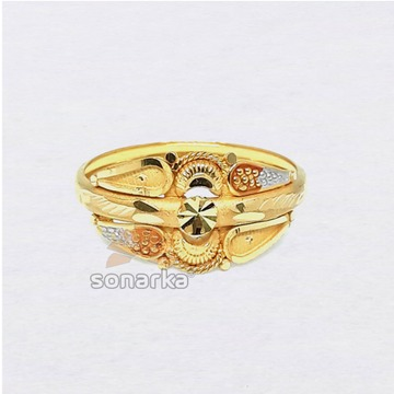 22ct Gold Ring Hollow Single Pipe Meenakari Design for Ladies