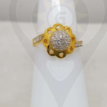 916 Gold Flower Design ring  by Parshwa Jewellers