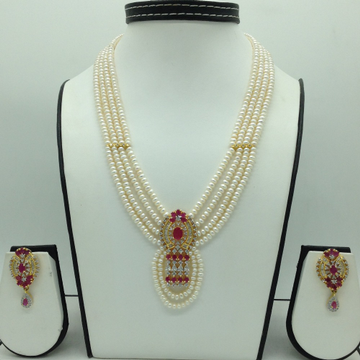 White and Red CZ Pendent Set With 4 Line Flat Pear...