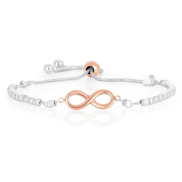 18kt white and rose infinity symbolic with diamond chain bracelet for women jkb022