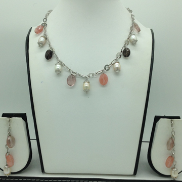 Freshwater White Pearls and Semi Drops Silver Chai...