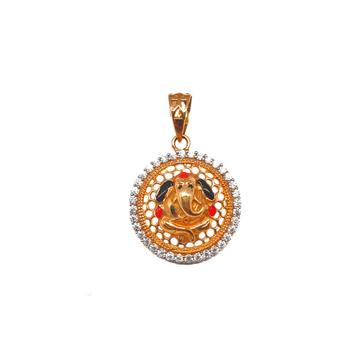 18K Rose Gold Round Shaped Ganesh Pendant MGA - PDG0081