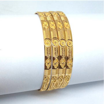 916 Yellow Gold 4 Piece Machine Cut Bangle