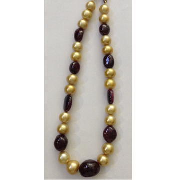 Golden south sea pearls with ruby necklace