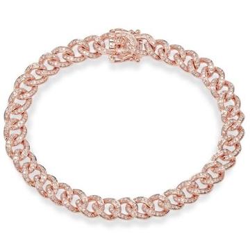 18kt rose gold machine cut chunky bracelet for women jkb043