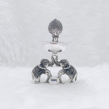 rEAL SILVER DEEPAK WITH ELEPHANT BASE IN ANTIQUE F...