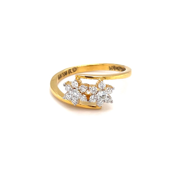 Two flower with cross band in 18k hallmark yellow gold