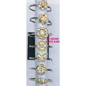 92.5 Sterling Silver Tri Colour Matte Rodyam Butterfly,Flower & Other Dezine Bracelet Ms-3085