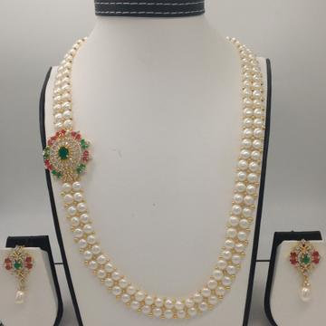 Tri Colour CZ BroachSet With 2Line ButtonJali Pearls Mala JPS0224