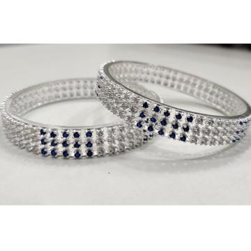 SILVER ladies meena and diamond bangles RH-MB648
