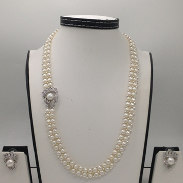White CZ And Pearls BroachSet With 2Line ButtonJali Pearls Mala JPS0230