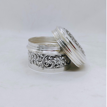hallmarked Silver Box for Gifting In Antique Round...