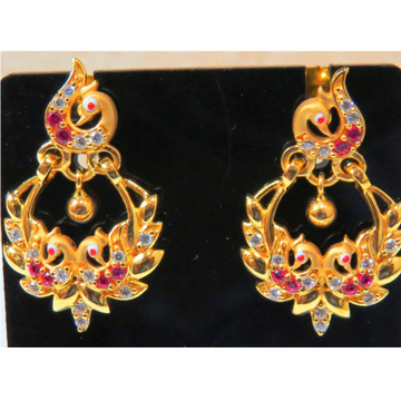 22kt gold cz casting peacock chandbali earrings