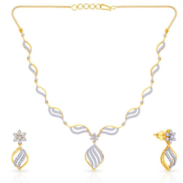 22kt, 916 Hall-Marked, Yellow gold delicate handmade freestyle Design of diamonds Necklace For Women Jkn021