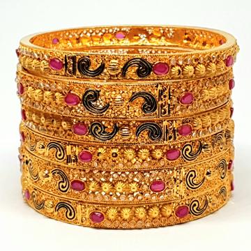 One gram gold forming 6 pieces calcutti kada bangles mga - bge0092