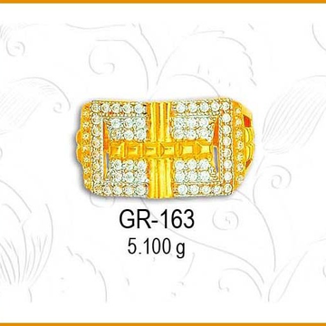 916 Gold Fancy CZ Gents Ring GR-163