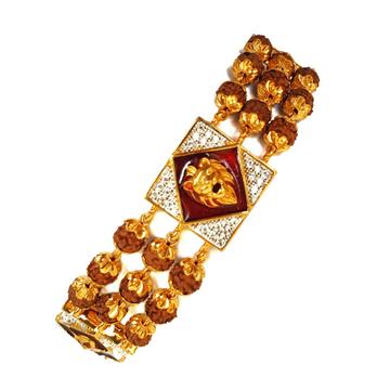 One gram gold forming 3 line rudraksh gents bracelet mga - bre0018