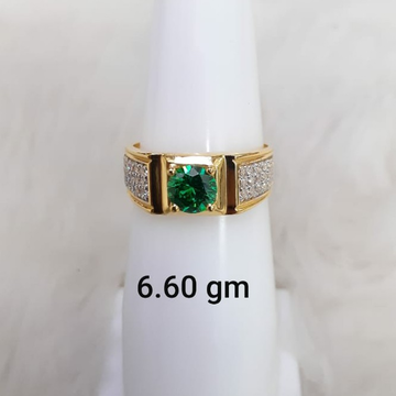 green stone solitaire gent's ring by