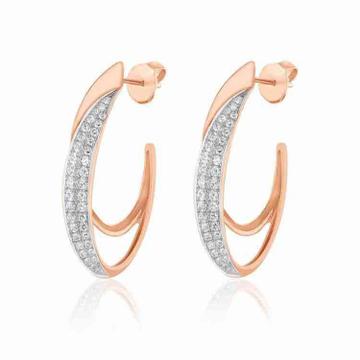 18KT Gold Designer Diamond Rose Earring