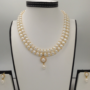 WhiteCZ And Pearl PendentSet With 2Line ButtonJali Pearls Mala JPS0380