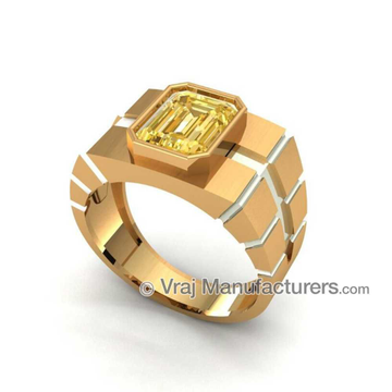 18KT Gold Radiant Yellow Sapphire Rings For Men