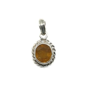 Silver Pokhraj Stone Pendant MGA - PDS0114