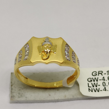916 Gold Ganpanti  Ring For Men SOG-R99 by S. O. Gold Private Limited